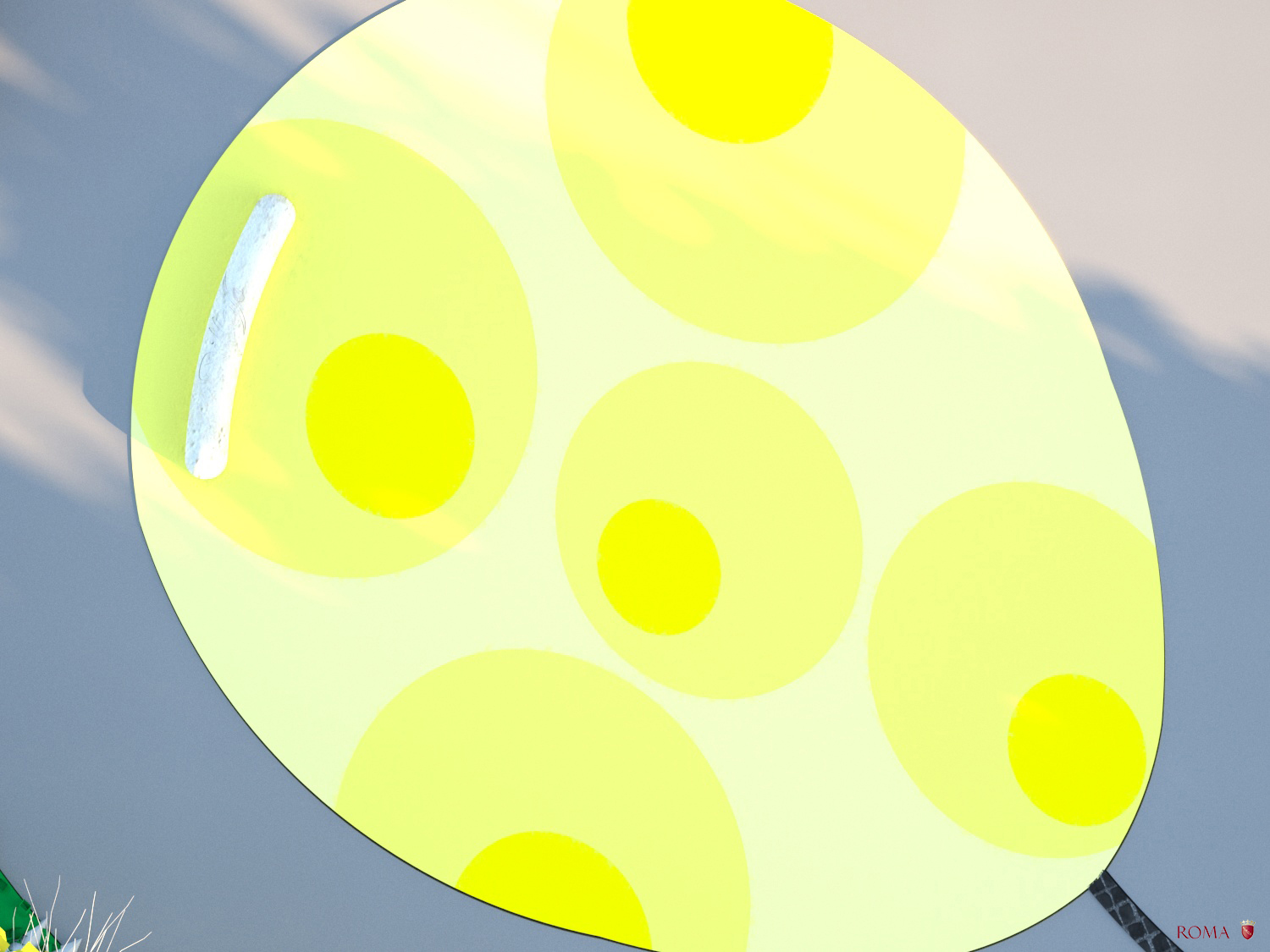Daytime view from above of the yellow balloon Roma Capitale - Tommaso Di Pierro}