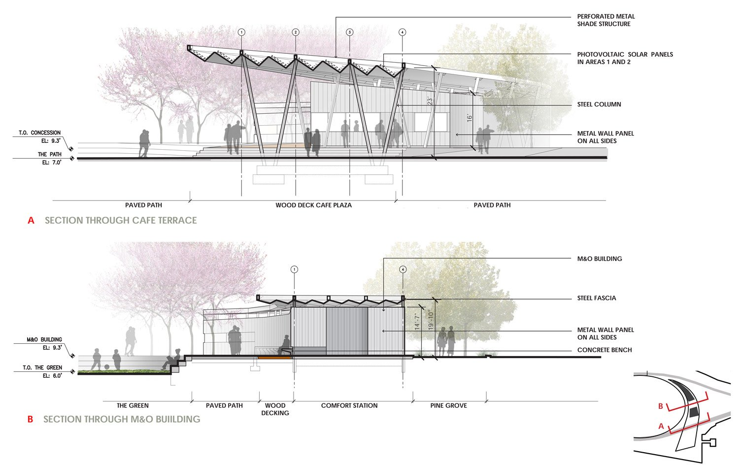 PAVILION SECTION Courtesy of SWA/Balsley and WEISS/MANFREDI}