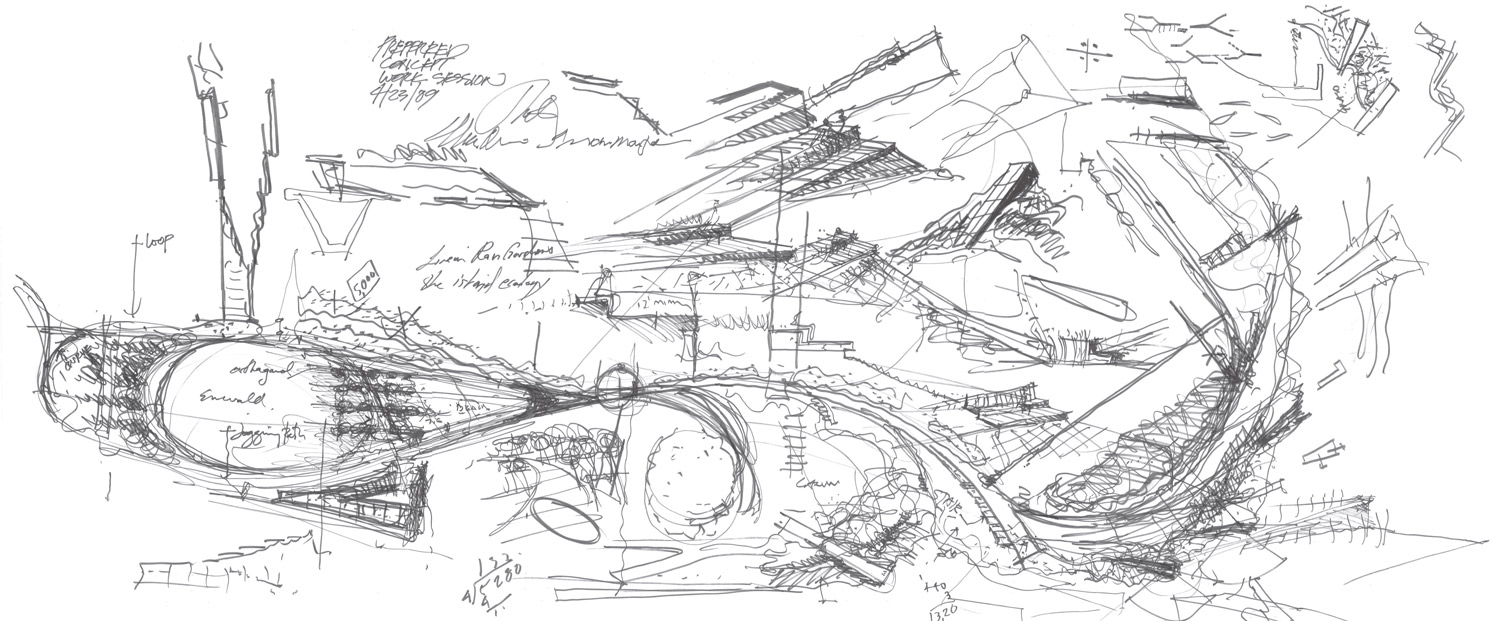 EARLY CONCEPT SKETCH Courtesy of SWA/Balsley and WEISS/MANFREDI}