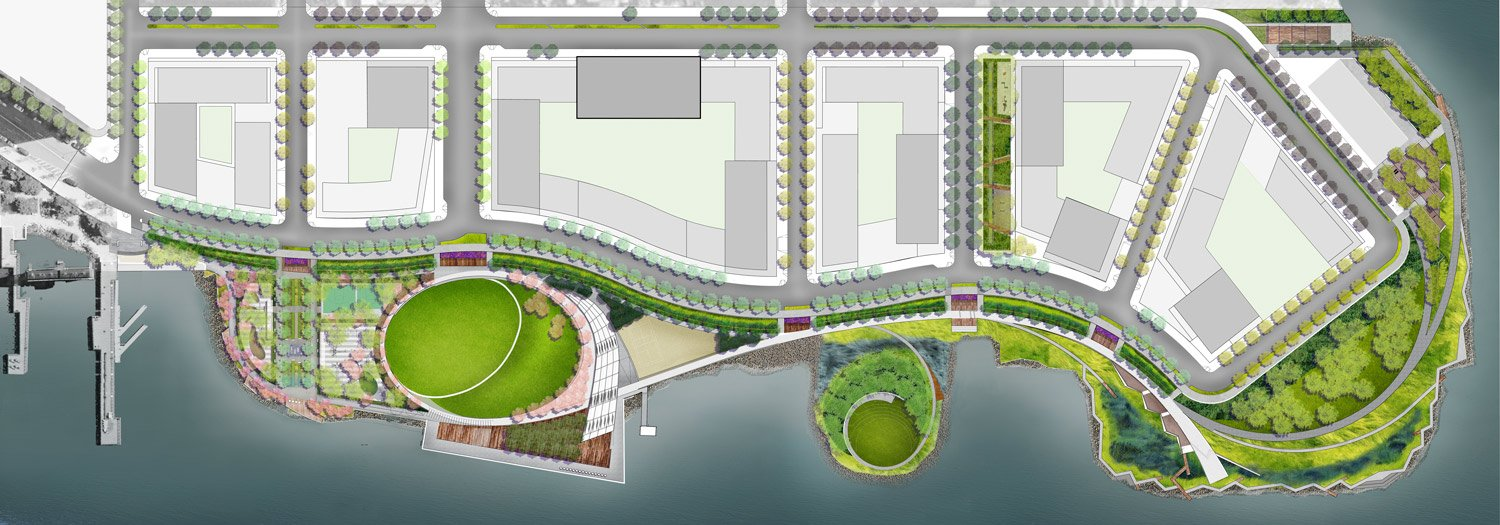 SITE PLAN Courtesy of SWA/Balsley and WEISS/MANFREDI}
