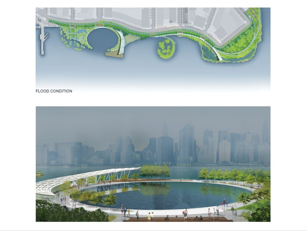 FLOODED SITE WITH RECREATION OVAL RENDERING Courtesy of SWA/Balsley and WEISS/MANFREDI}