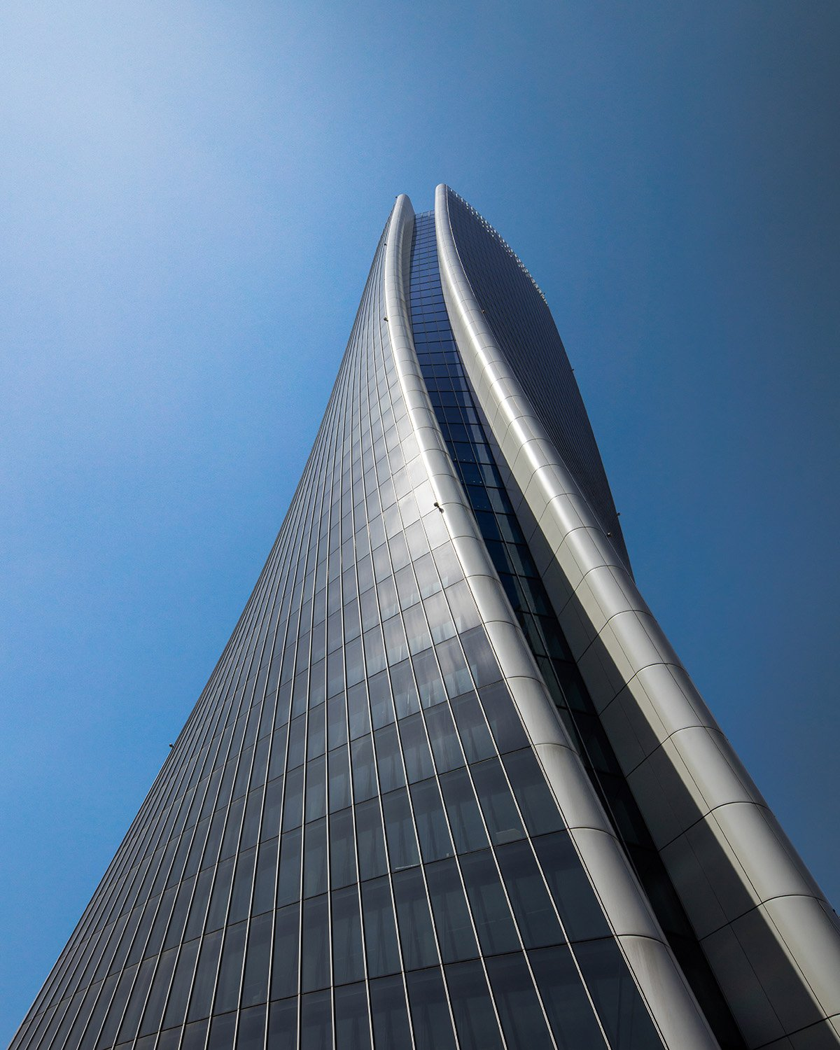 Looking up the 170m Generali Tower Photography by Luke Hayes