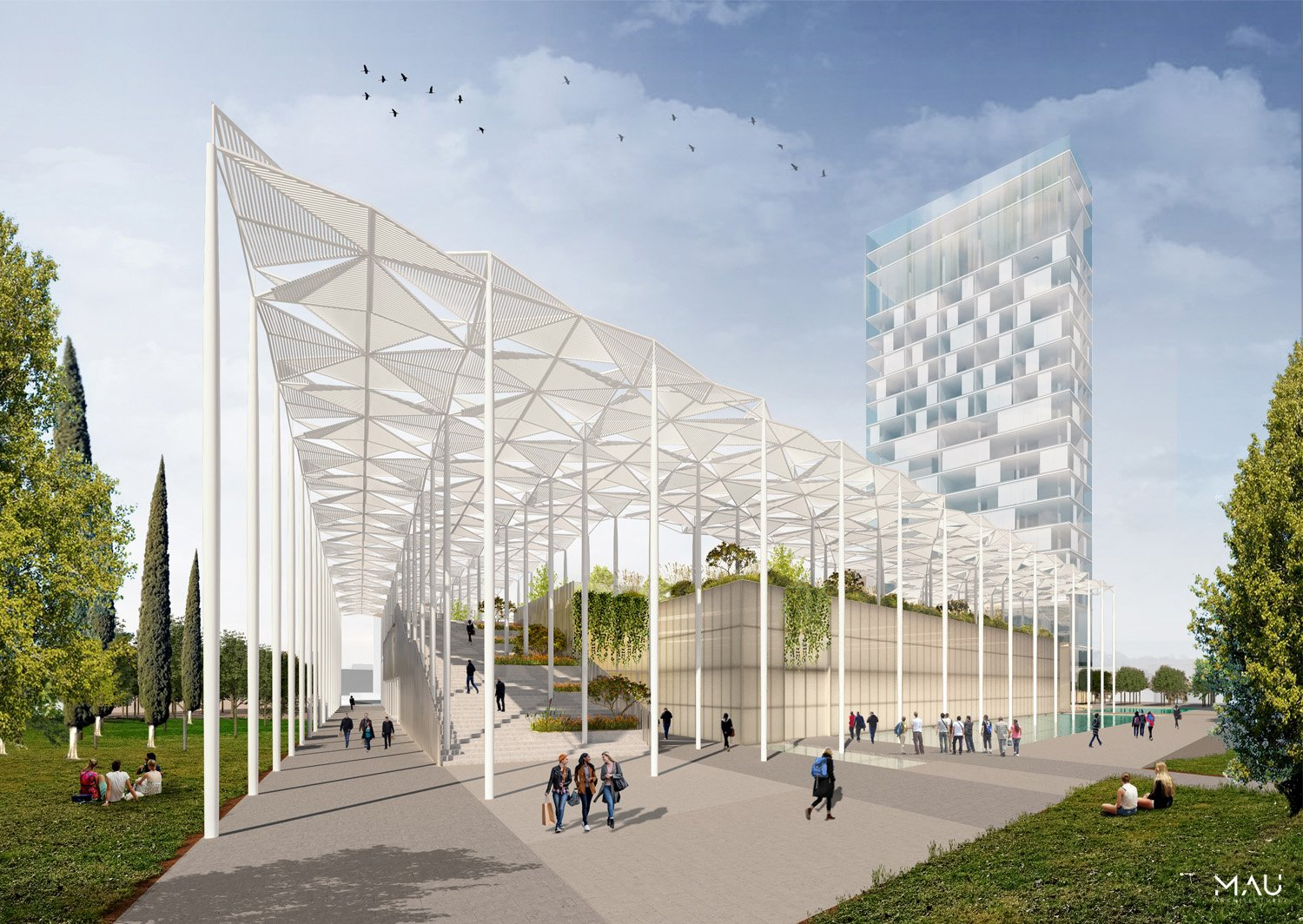 Sport Palace and ramp, south facade MAU Architecture