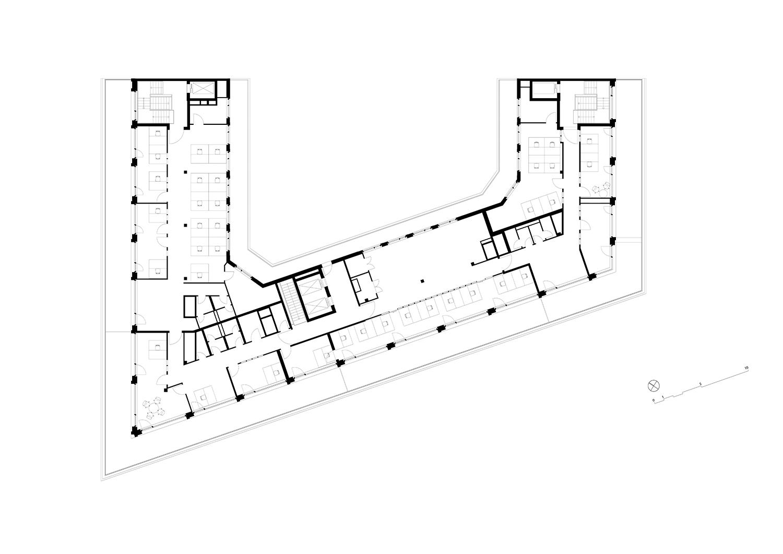 Upper floor plan TCHOBAN VOSS Architekten}