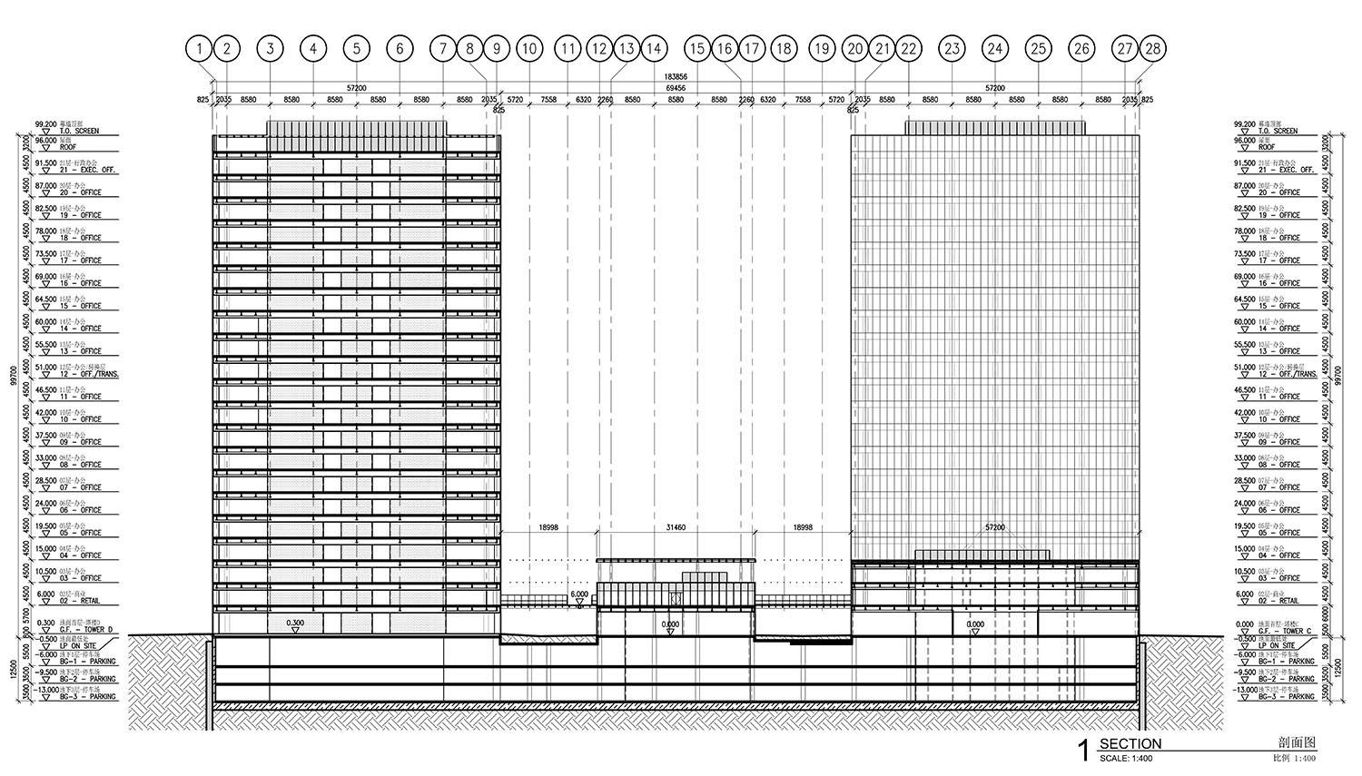 Elevation and Section FGP Atelier}
