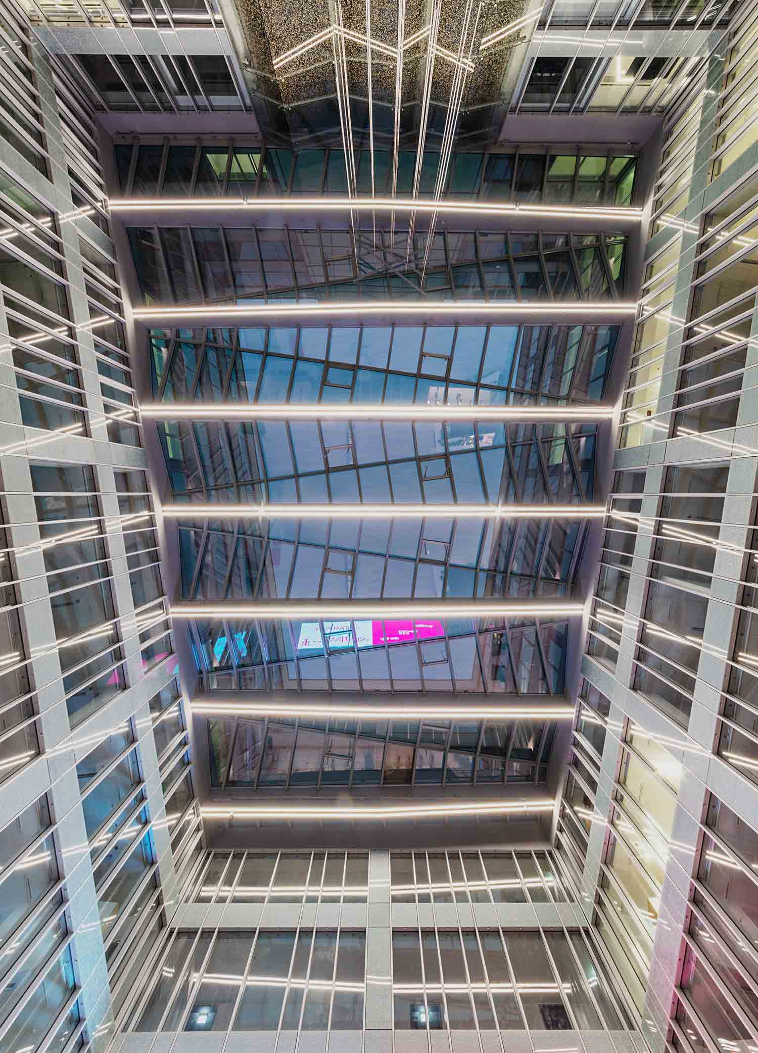 Botton View of the Aula Glass Roof TIBA Architects Studio kft}