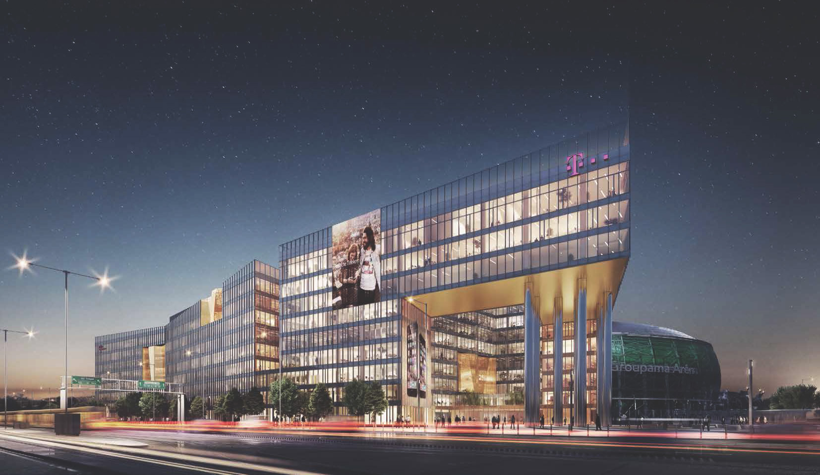 Render - Main Entrance by Night TIBA Architects Studio kft}