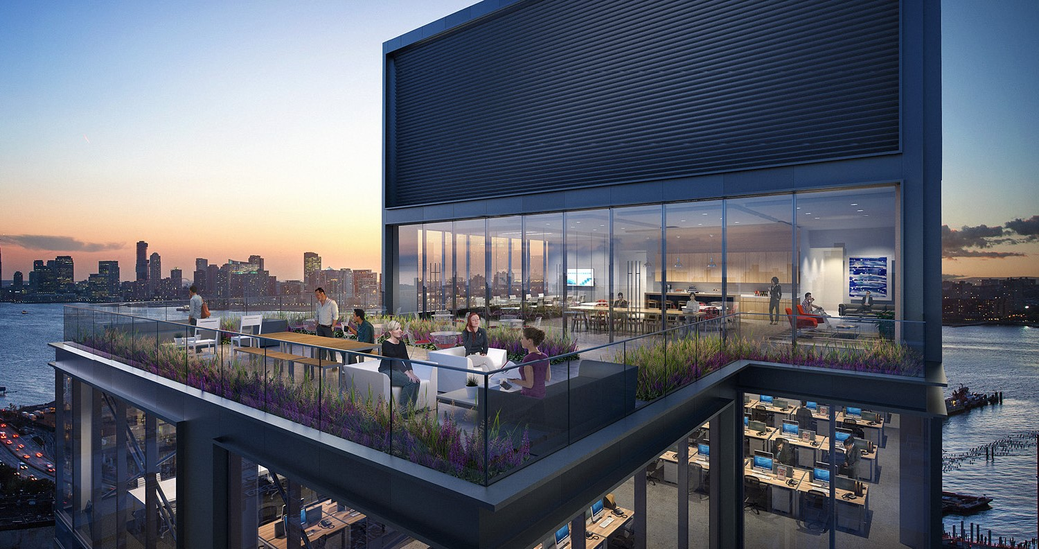 Connection to the outdoor terraces offer opportunities to integrate a productive work environment with play CetraRuddy Architecture