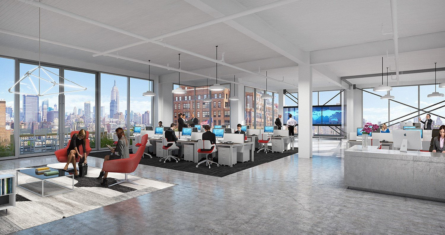Nearly column free flexible workplace environment CetraRuddy Architecture}