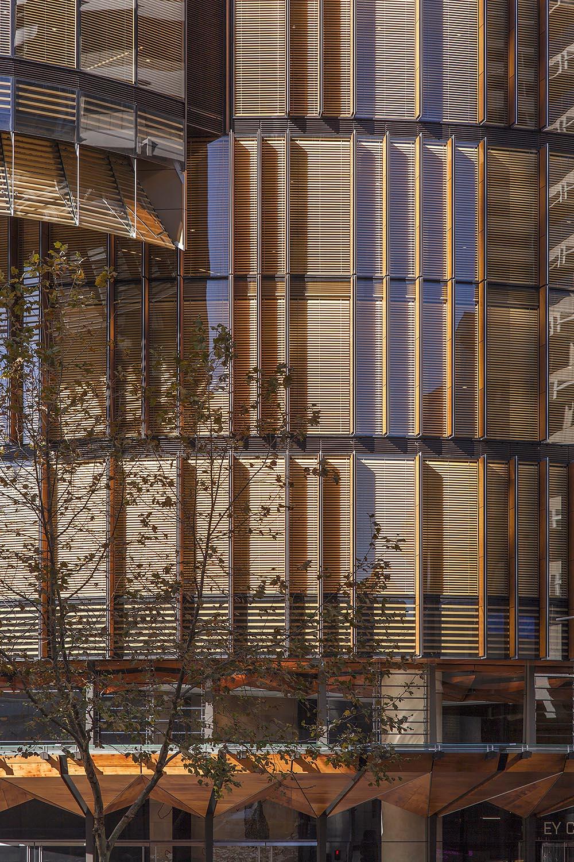 Detail of the timber facade Owen Sharp