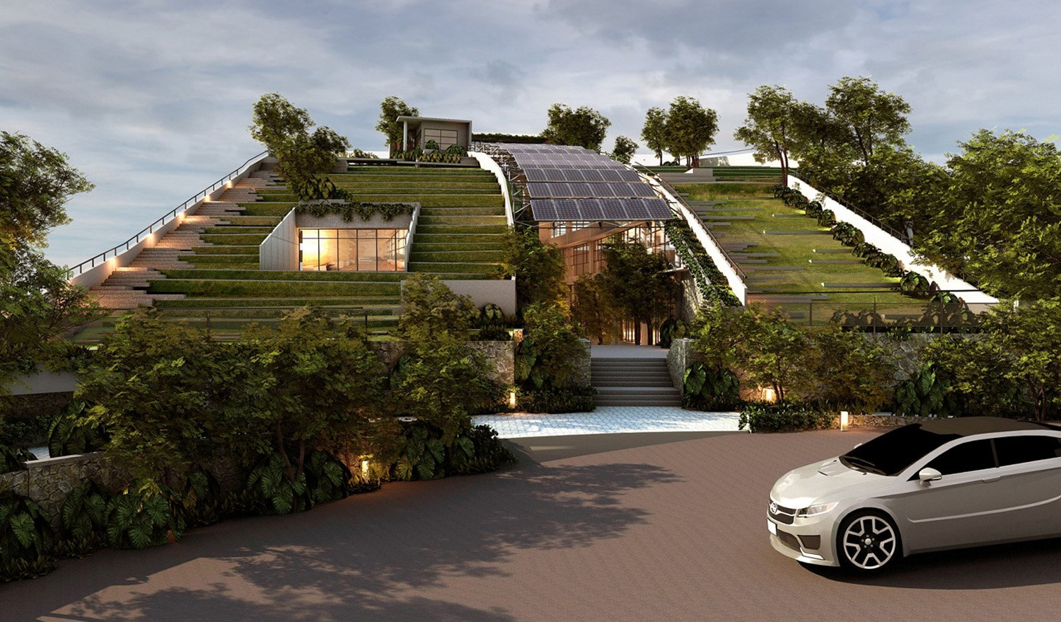 The Green Sloping roof overlooking the view on the West }