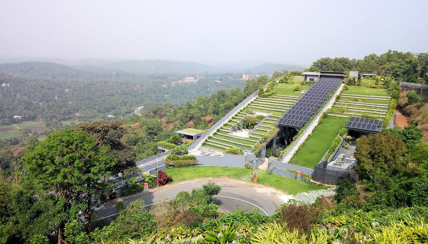 The Green Roof slopes down to the ground on the south. Ar. Sujith. G.S