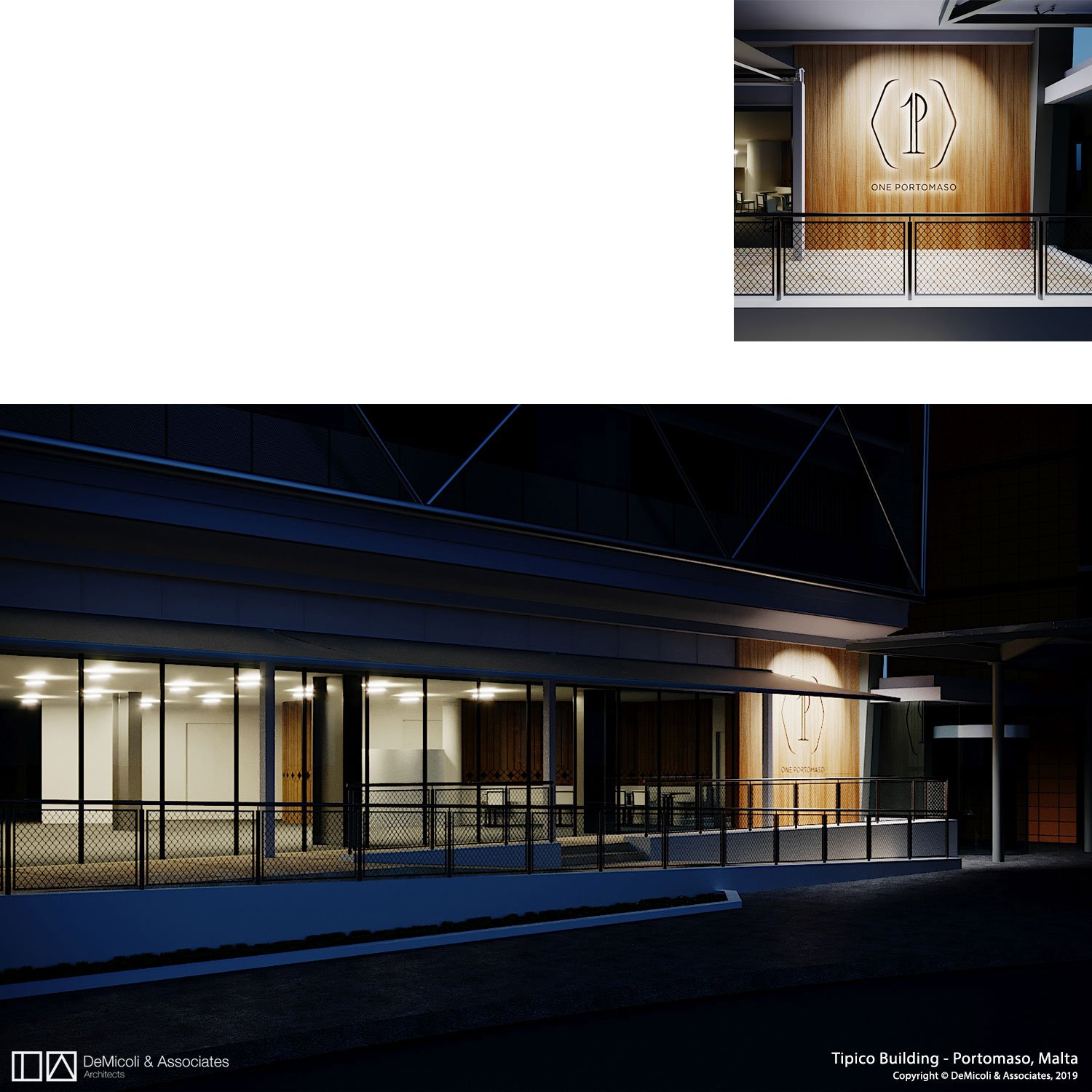 Render, night view of level 0 DeMicoli & Associates}