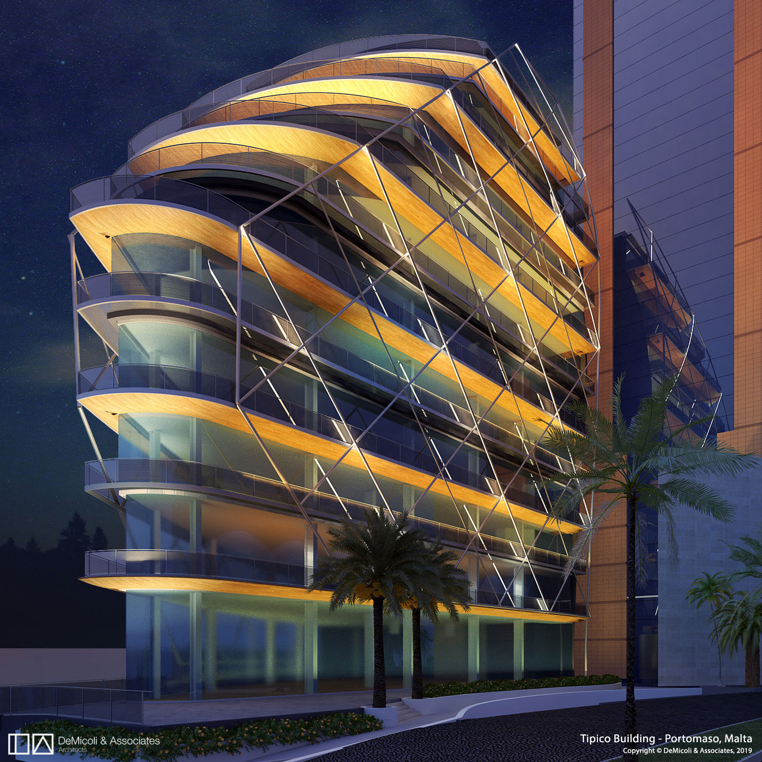 Render, night view DeMicoli & Associates}