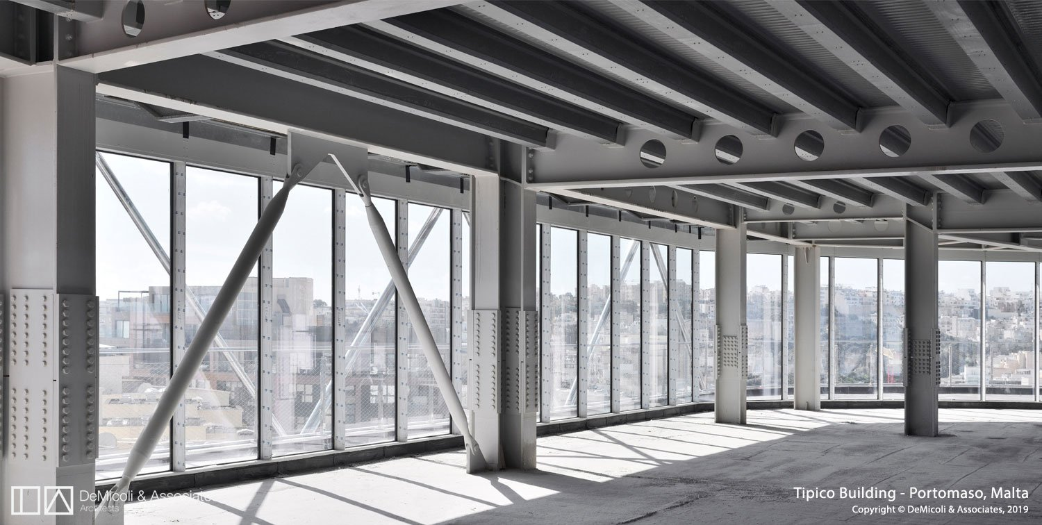 Internal view of steel structure DeMicoli & Associates, Stahlbau Pichler