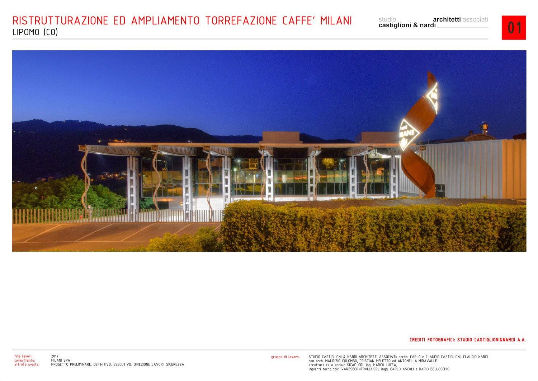vista notturna degli uffici e del totem con il logo dal fronte di ingresso studio castiglioni & nardi architetti associati