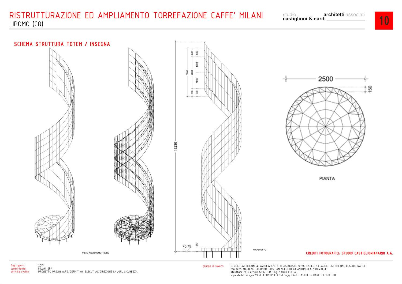 struttura del totem/insegna studio castiglioni & nardi architetti associati}