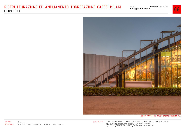 vista laterale notturna dell'ingresso alla serra/esposizione del caffè studio castiglioni & nardi architetti associati
