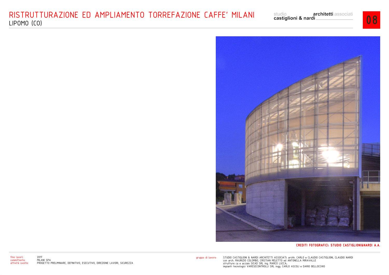 vista notturna di una delle centrali tecnologiche studio castiglioni & nardi architetti associati
