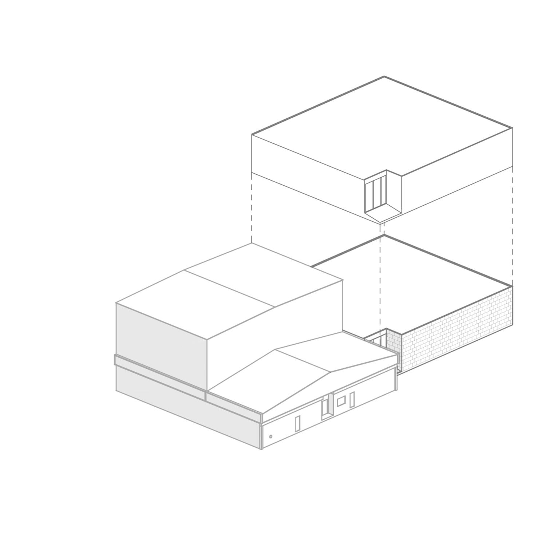 Schema compositivo 1 - edificio esistente ed ampliamento L. Giannini}