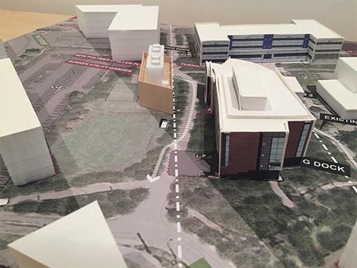 """Model illustrating campus """"view corridor"""" Leers Weinzapfel Associates}"""