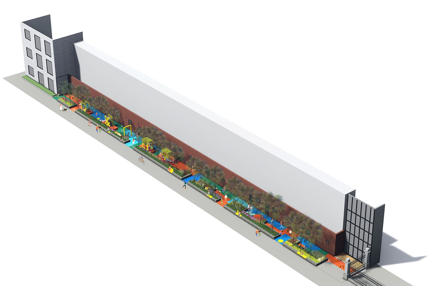 Axonometric rendering view of Shanghai Playscape Environmental Futures Lab.}