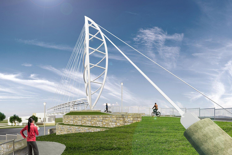 The bridge creates a safe passage for pedestrians Fentress Architects}