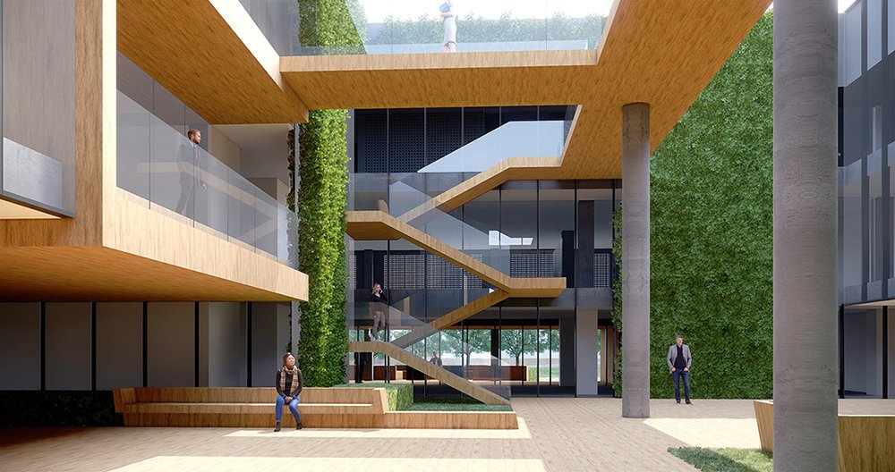 View of the central garden towards the outdoor main stairs, with the vertical 'green' walls on both sides and the 'portal' balcony to the left Studio A+