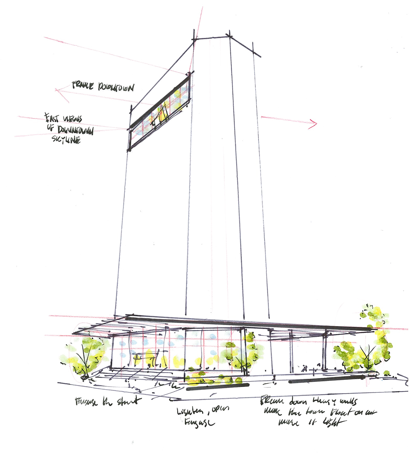 400 Record from the view of Market Street and Wood Street conceptual sketch Ian Zapata}