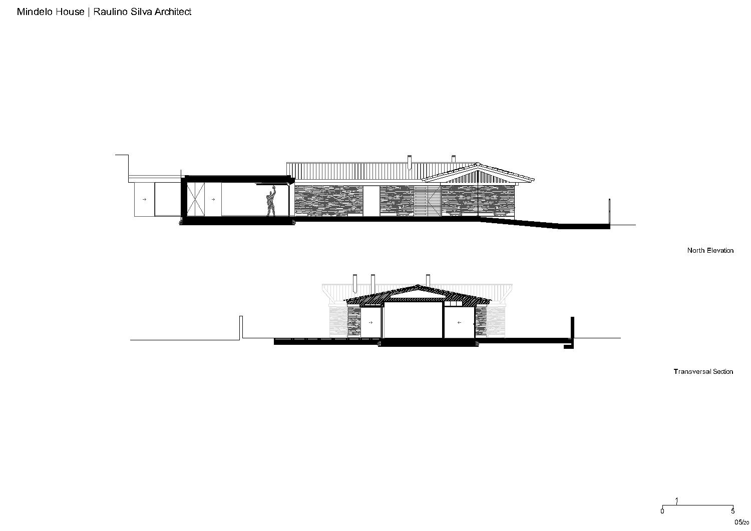 Elevation and section Raulino Silva Architect}
