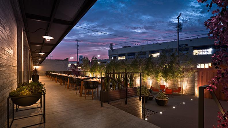 Rendering - Night view Patio Cocoon Studio}