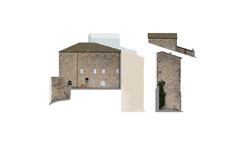 Ricostruzioni Fotogrammetriche - Lato Est - Castello di Rossena Rilievi: ABACUS s.a.s. di Botti arch. Stefano & C.}