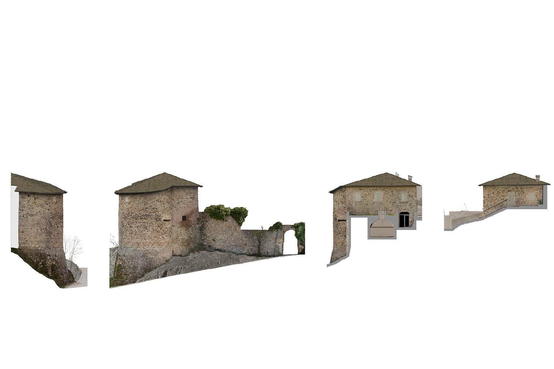 Ricostruzioni Fotogrammetriche - Ingresso - Castello di Rossena Rilievi: ABACUS s.a.s. di Botti arch. Stefano & C.}