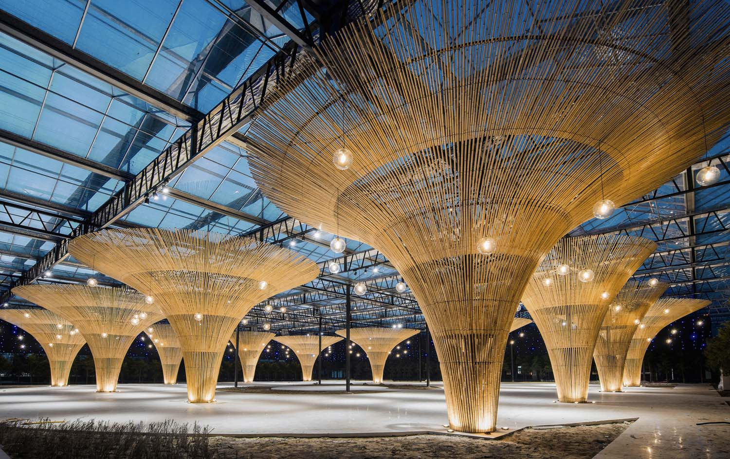 Bamboo umbrella and starry sky in multi-function hall Cong Lin