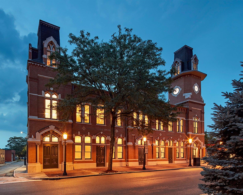 Restored facade of the historic railroad depot building Robert Benson