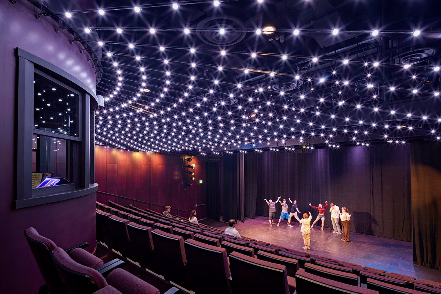 New 177-seat theater includes individually addressable color changing light nodes with video mapping capability to transform the house lighting into a cutting edge theatrical lighting element Robert Benson