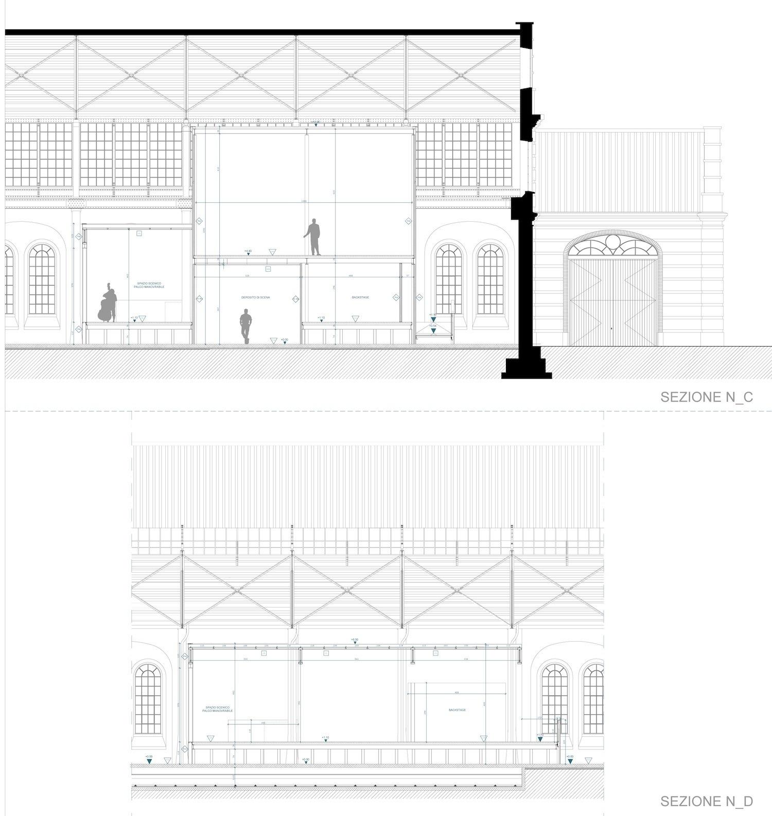 OFFICINE NORD_SEZIONI E DETTAGLI PALCO FOR ENGINEERING ARCHITECTURE}