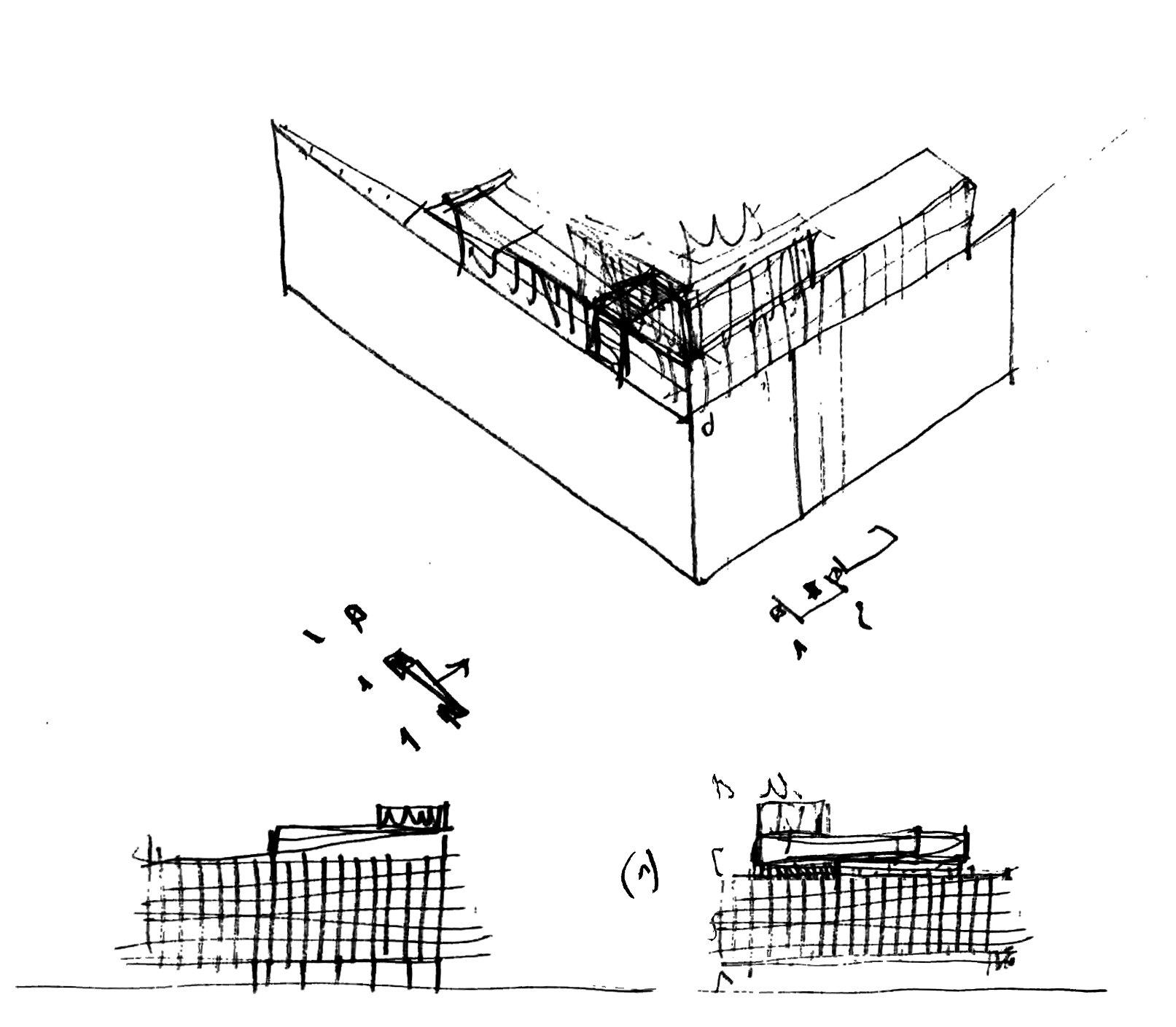 Schizzo, studio dei piani aggiuntivi in copertura Arch. Alfonso Femia}