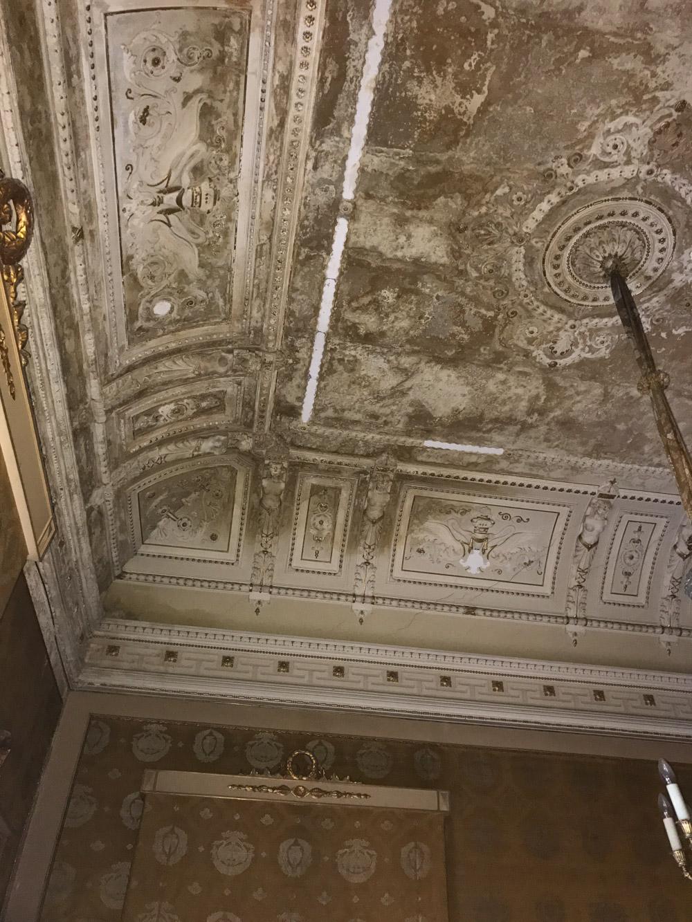 Foto dello stato di fatto della volta prima del restauro Foto Arch. Martina Mangani}