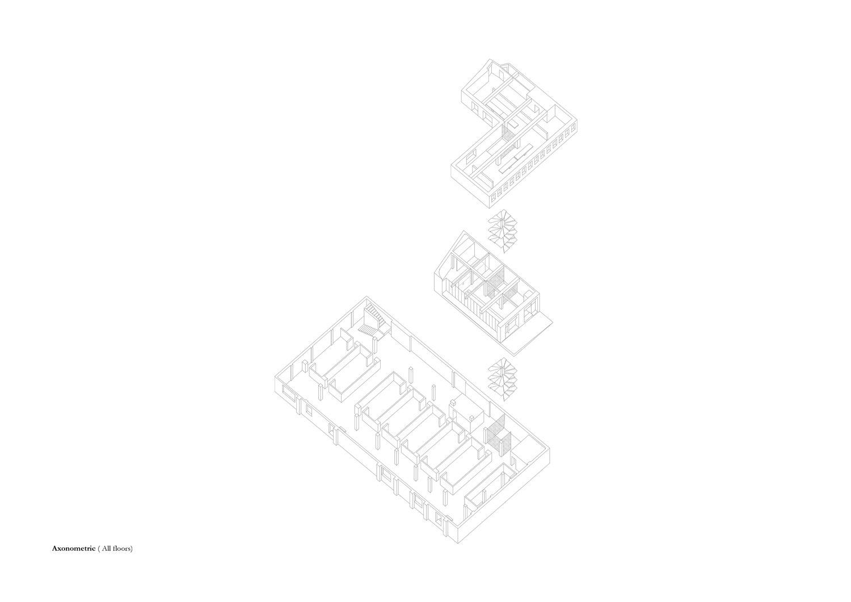 Axonometric view of all 3 floors MORQ}