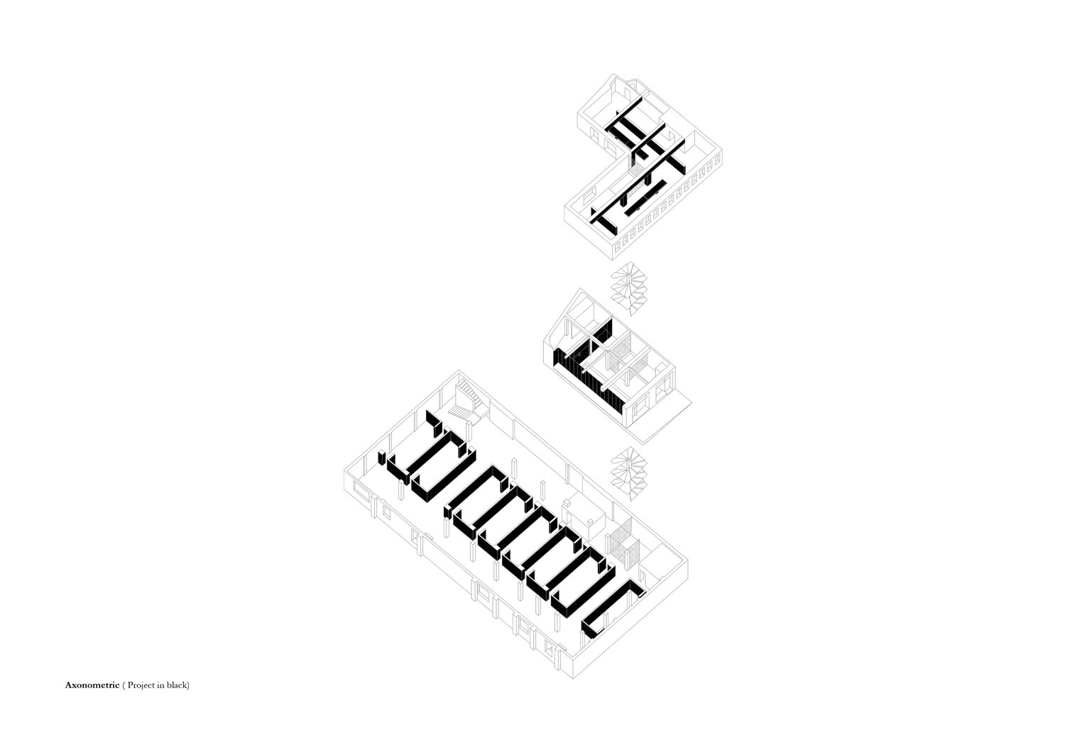 Axonometric view of all 3 floors (intervention in black) MORQ}
