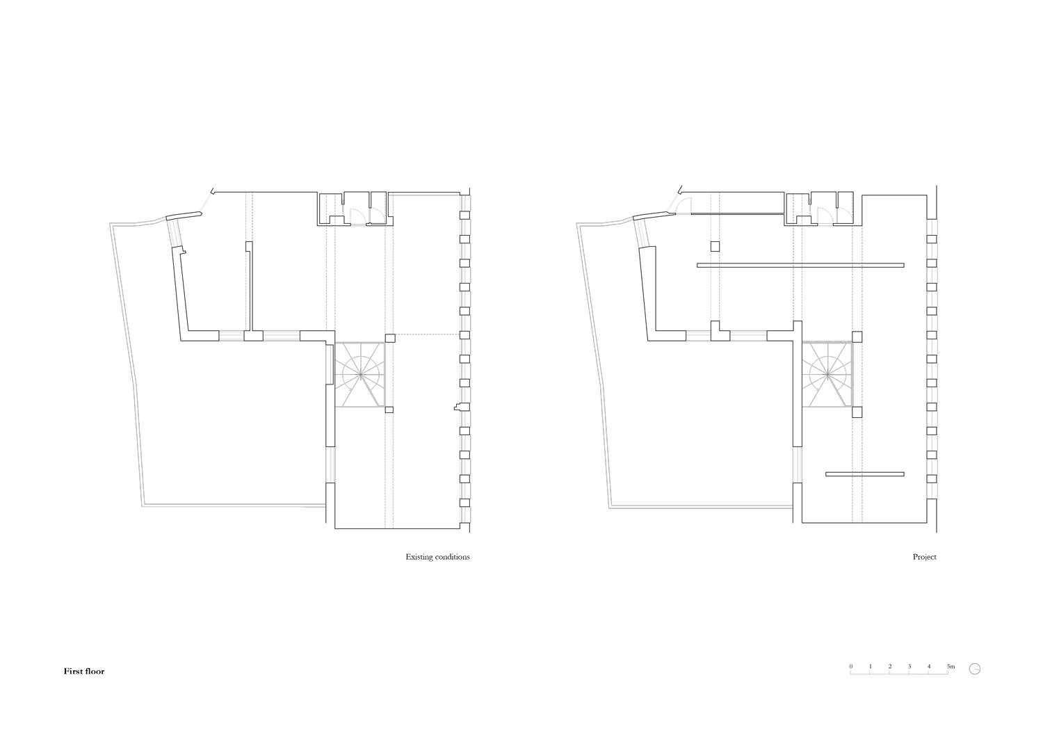 Plan first floor existing (left) and project (right) MORQ}