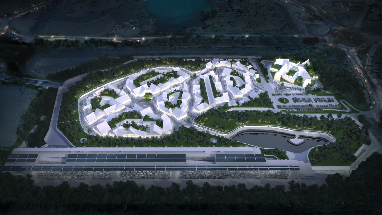 Aerial view render GRD office}