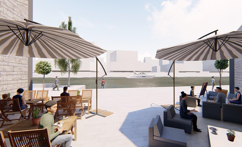 Open courtyard © JADRIC ARCHITEKTUR ZT GmbH & TONGJI ARCHITECTURAL DESIGN AND RESEARCH INSTITUTE}