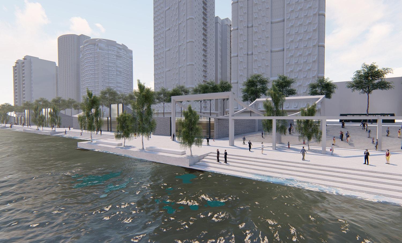 Riverbank pergola © JADRIC ARCHITEKTUR ZT GmbH & TONGJI ARCHITECTURAL DESIGN AND RESEARCH INSTITUTE}