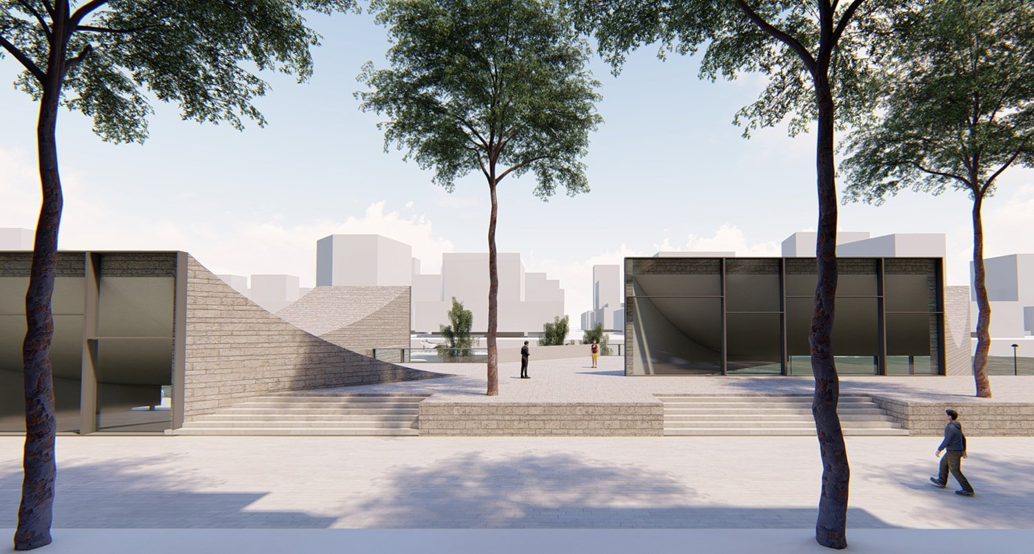View from street © JADRIC ARCHITEKTUR ZT GmbH & TONGJI ARCHITECTURAL DESIGN AND RESEARCH INSTITUTE}