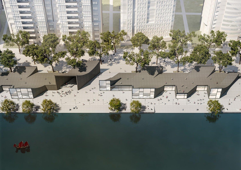 Riverbank bird´s view © JADRIC ARCHITEKTUR ZT GmbH & TONGJI ARCHITECTURAL DESIGN AND RESEARCH INSTITUTE