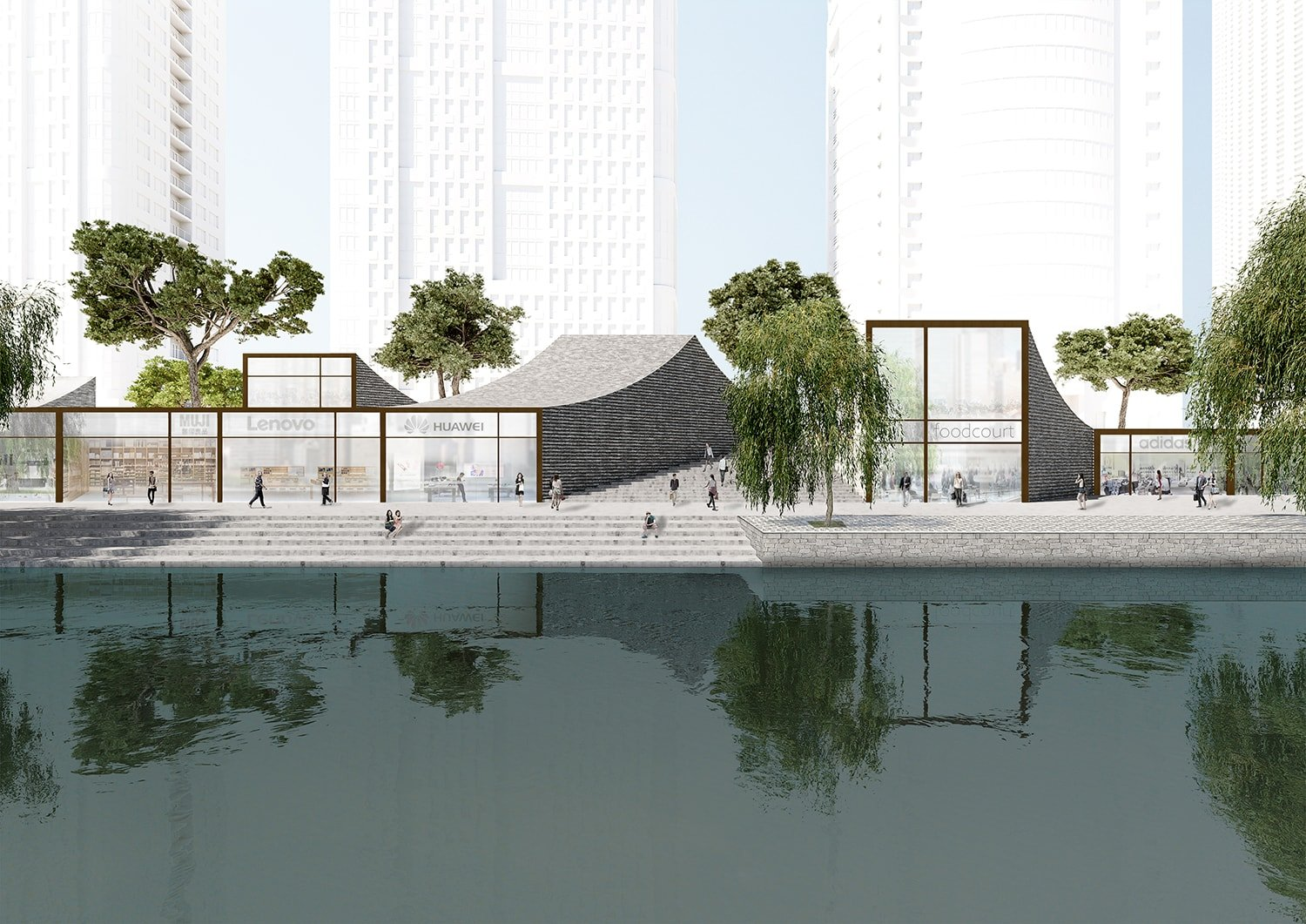 Riverbank front © JADRIC ARCHITEKTUR ZT GmbH & TONGJI ARCHITECTURAL DESIGN AND RESEARCH INSTITUTE