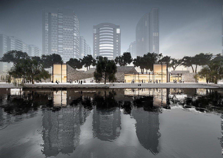 Riverbank night © JADRIC ARCHITEKTUR ZT GmbH & TONGJI ARCHITECTURAL DESIGN AND RESEARCH INSTITUTE