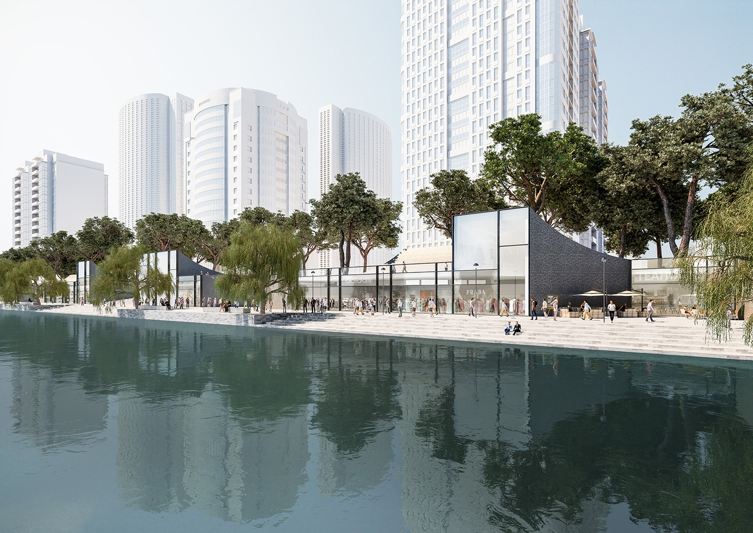 Riverbank perspective © JADRIC ARCHITEKTUR ZT GmbH & TONGJI ARCHITECTURAL DESIGN AND RESEARCH INSTITUTE